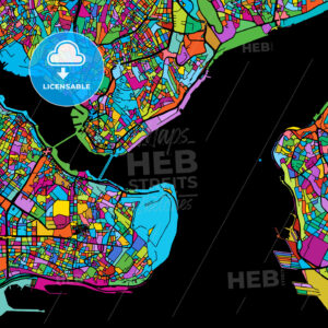 Istanbul Colorful Vector Map on Black - Hebstreits