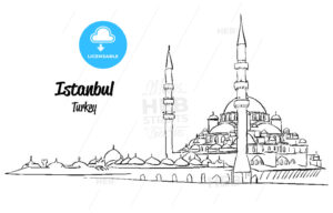 Istanbul Yeni Cami, New Mosque Sketch - Hebstreits