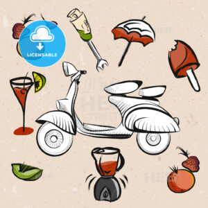 Italian Scooter, Fruits and Smoothie Signs - Hebstreits
