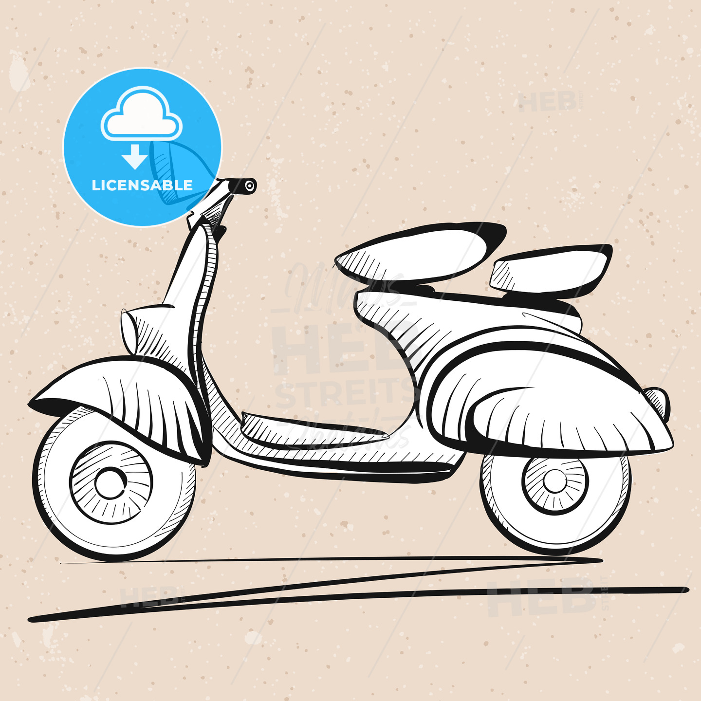 Italian Scooter Outline Sketch on Vintage Background - Hebstreits