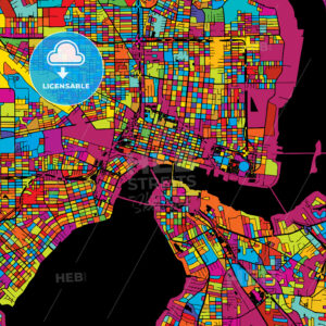 Jacksonville Colorful Vector Map on Black - Hebstreits