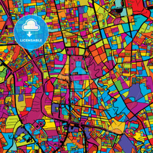 Jakarta Colorful Vector Map on Black - HEBSTREIT's Sketches