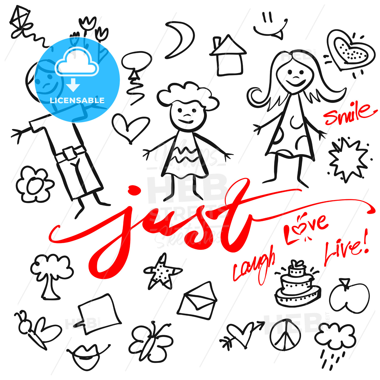 Just Family Doodle Vector Set - Hebstreits