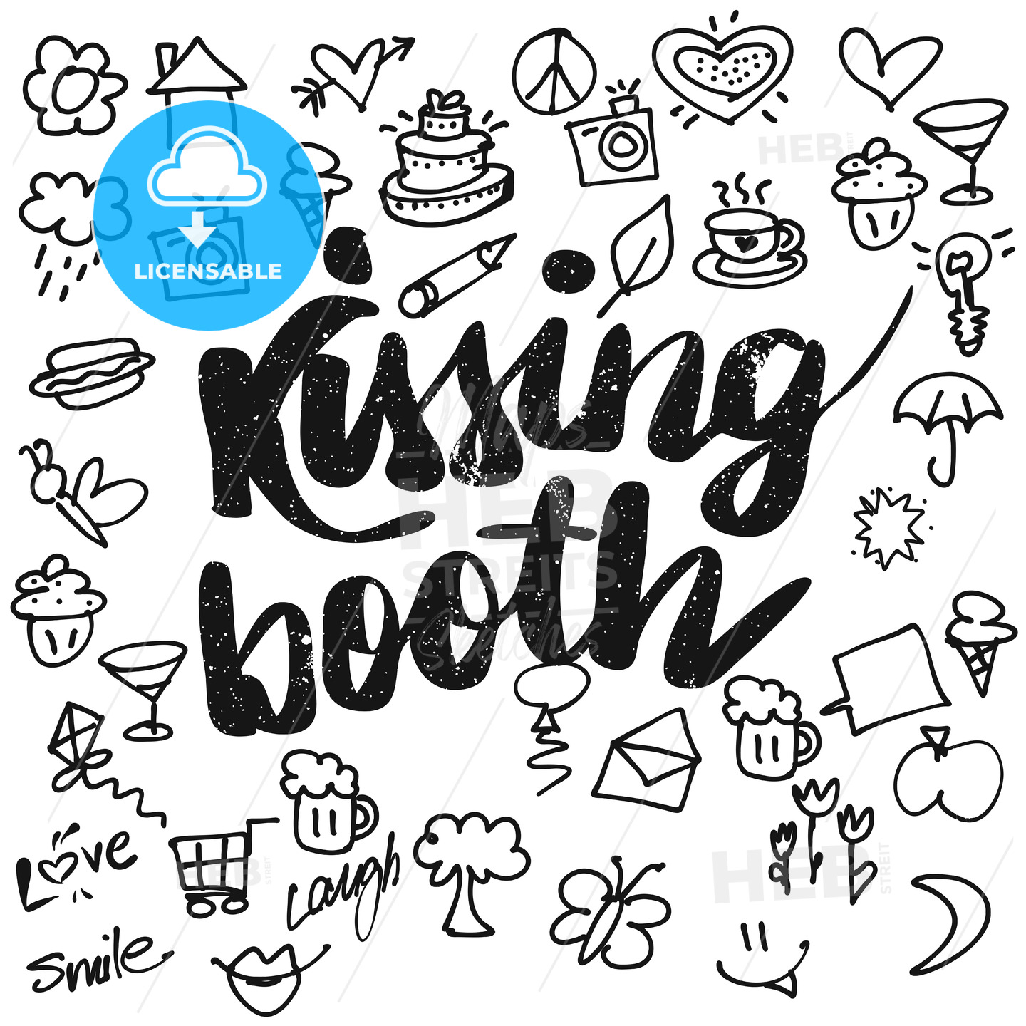 Kissing booth Typo and Doodles - Hebstreits