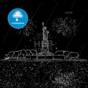Lady Liberty by Night with Firework Sketch - Hebstreits