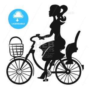 Lady on Bike wit Basket and Children Seat - Hebstreits