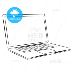 Laptop Outline Sketch - Hebstreits