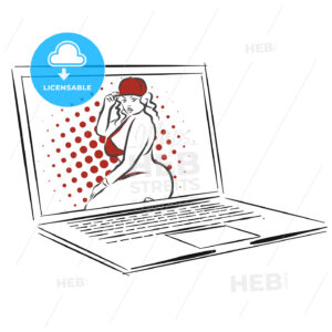 Laptop with Overweight Nice Girl, Concept Dating App Design - Hebstreits