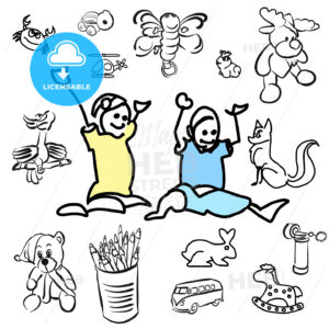 Laughing doodle Kids with sketched Toys - Hebstreits