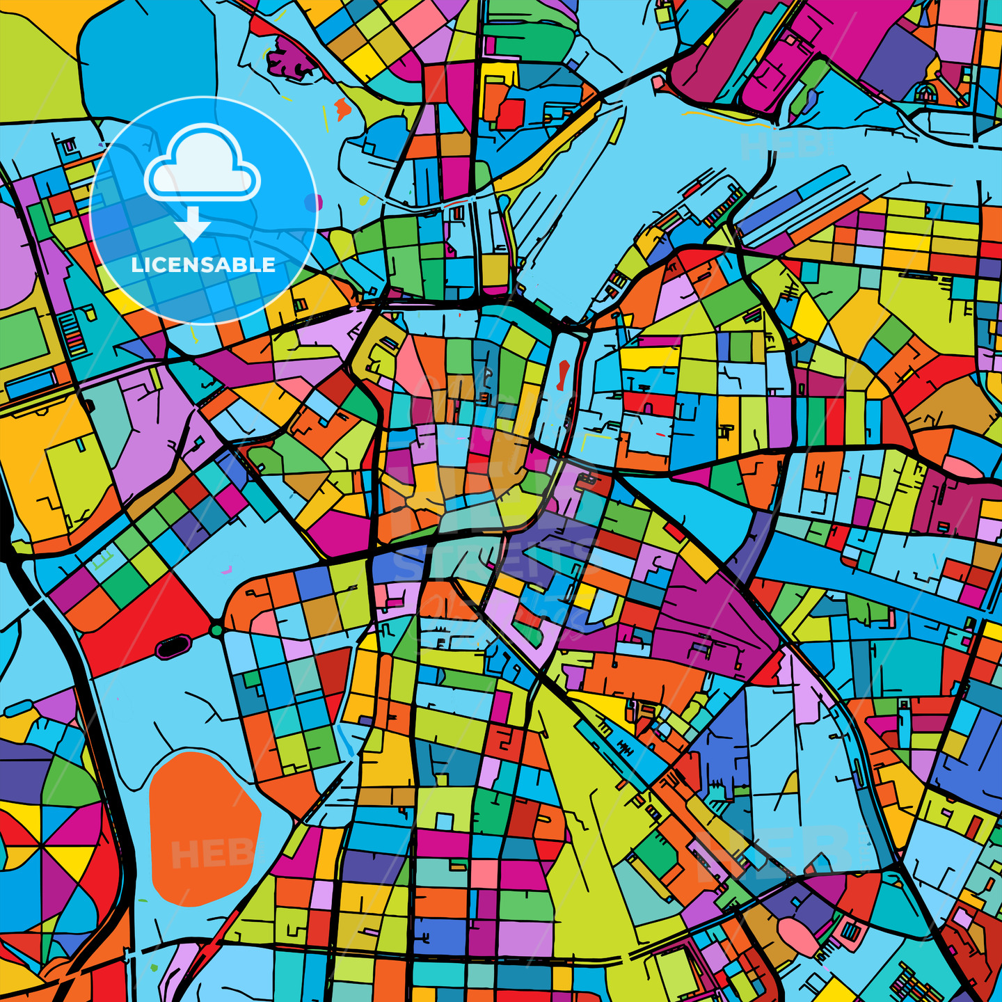 Leipzig, Germany Colorful Vector Map on Black - Hebstreits