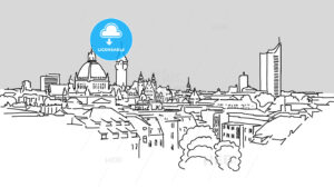 Leipzig Skyline Vector Outline Sketch - Hebstreits