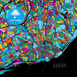 Lisbon Area Colorful Vector Map on Black