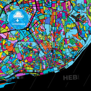 Lisbon Area Colorful Vector Map on Black - Hebstreits