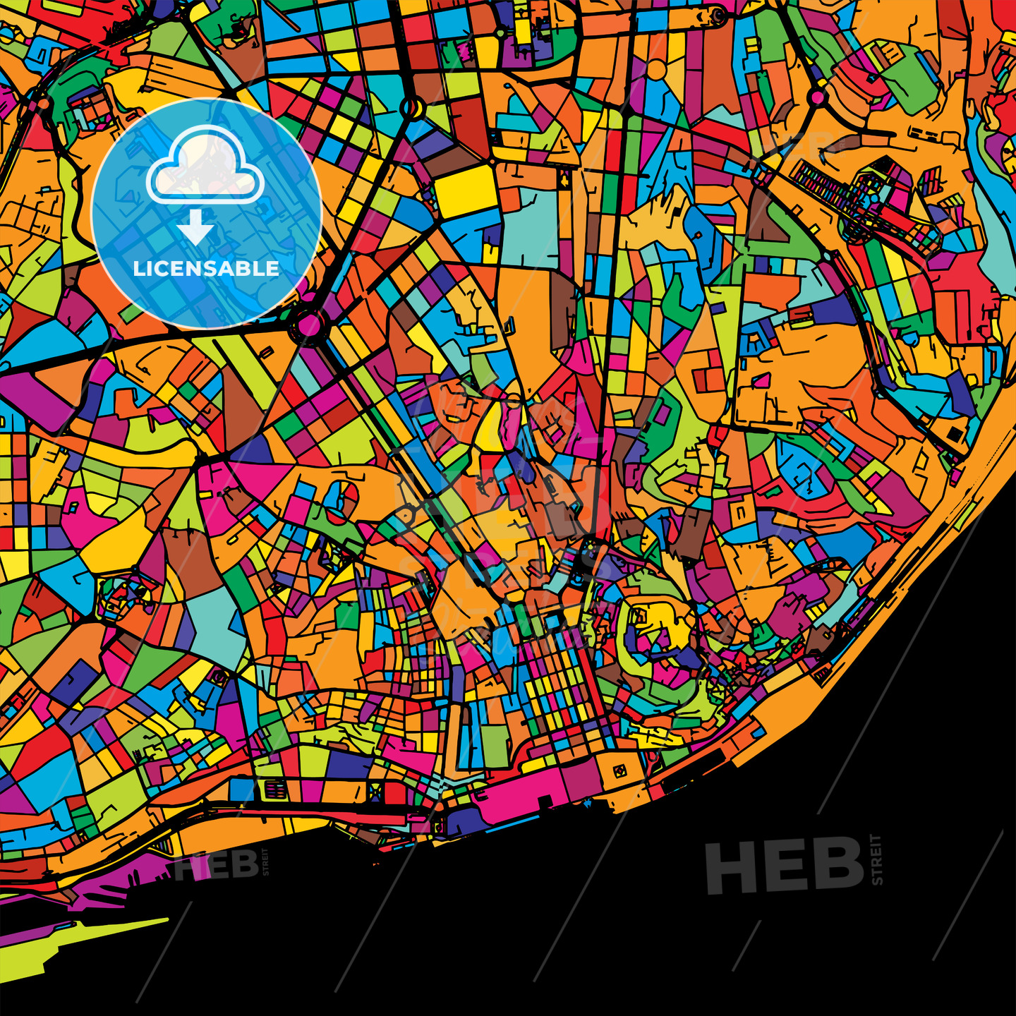 Lisbon Colorful Vector Map on Black - Hebstreits