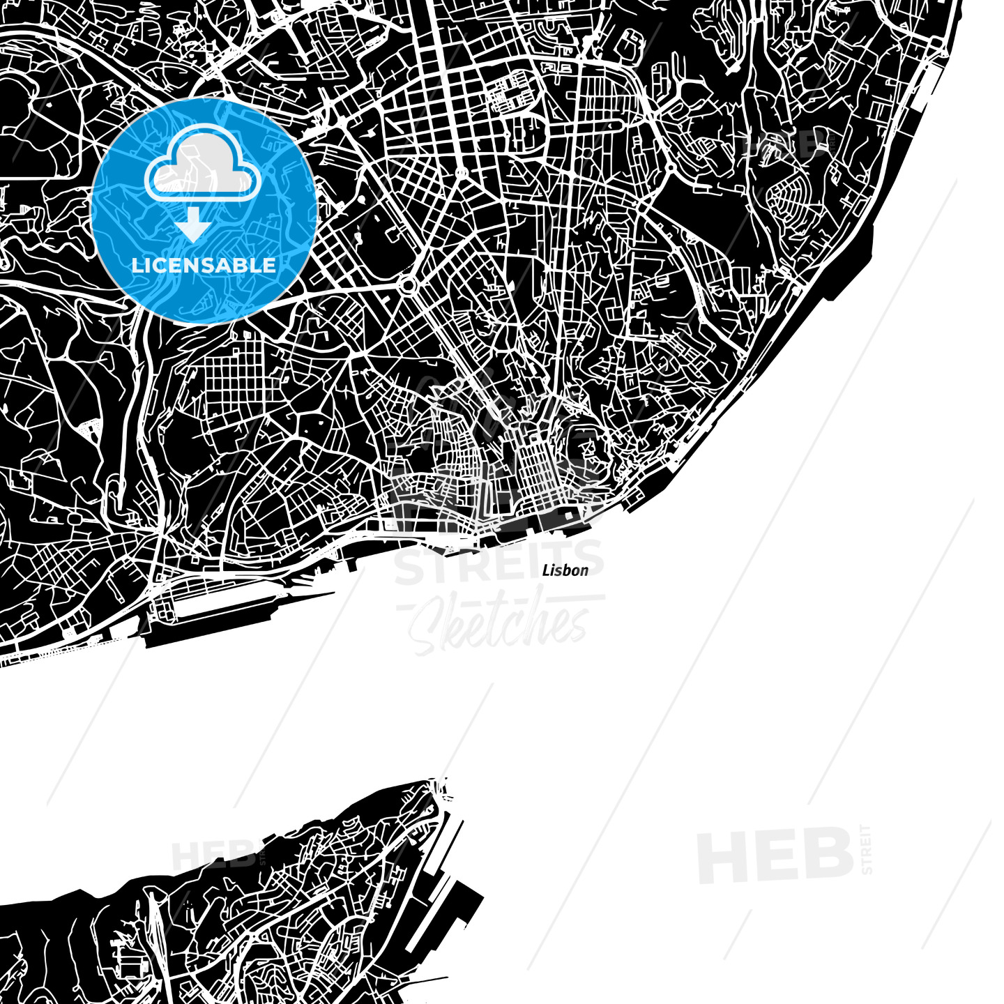 Lisbon Vector Map - HEBSTREITS