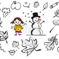 Little Comic Girl and Snowman with various sketched Leaves - Hebstreits