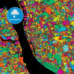 Liverpool Colorful Vector Map on Black - Hebstreits