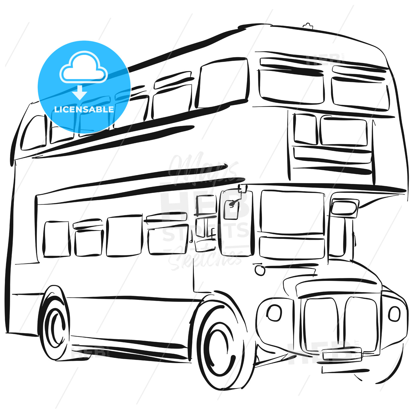London Bus Vector Drawing - Hebstreits