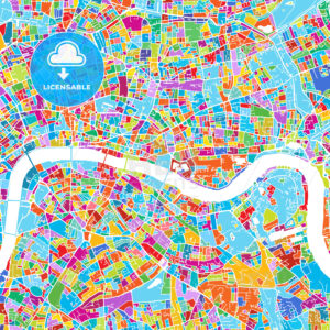 London Colorful Vector Map - Hebstreits