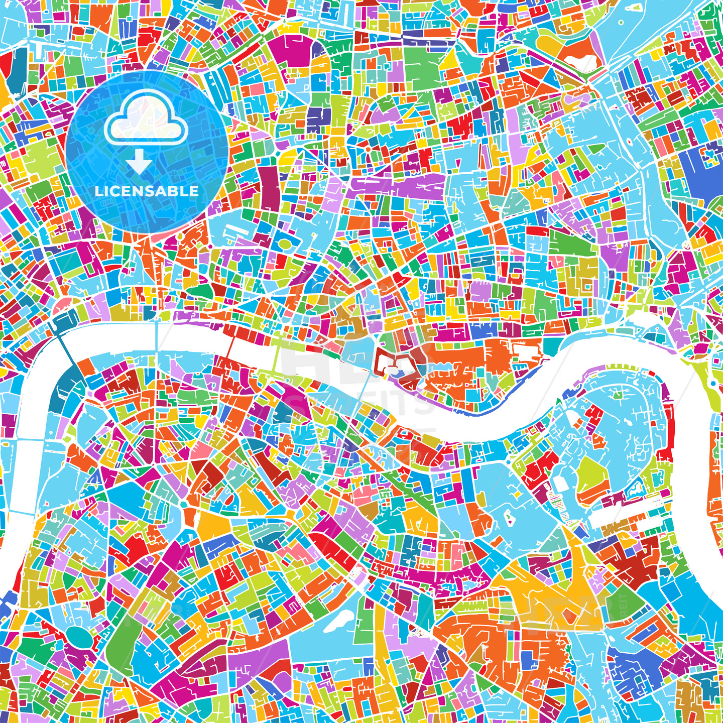 London Colorful Vector Map - HEBSTREIT's Sketches