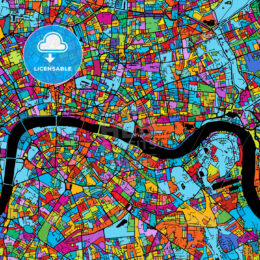 London Colorful Vector Map on Black