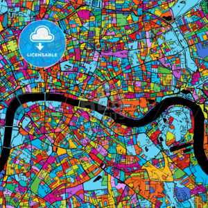 London Colorful Vector Map on Black - Hebstreits