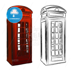 London Old Telephone Box Sketch - Hebstreits