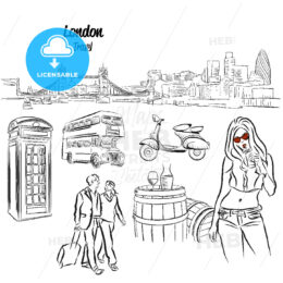 London Panorama and Travel Icons Sketches,