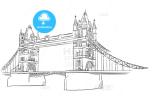 London Tower Bridge Outline Sketched - Hebstreits