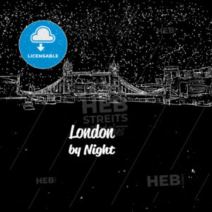 London by Night Skyline Panorama Sketch - Hebstreits