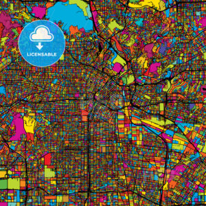 Los Angeles Colorful Vector Map on Black - Hebstreits