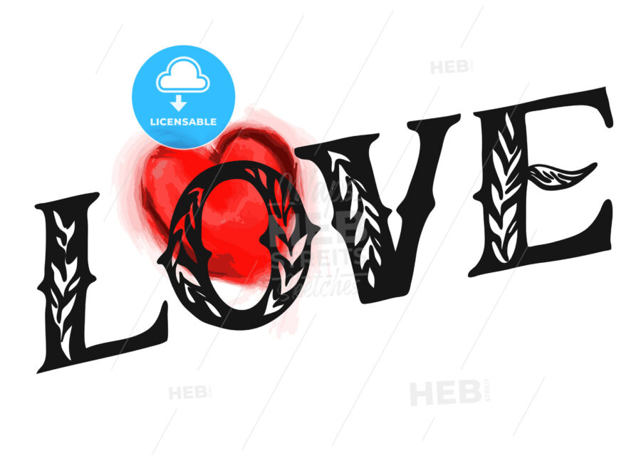 Love Type with red heart - Hebstreits