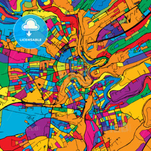 Luxembourg Colorful Vector Map on Black - Hebstreits