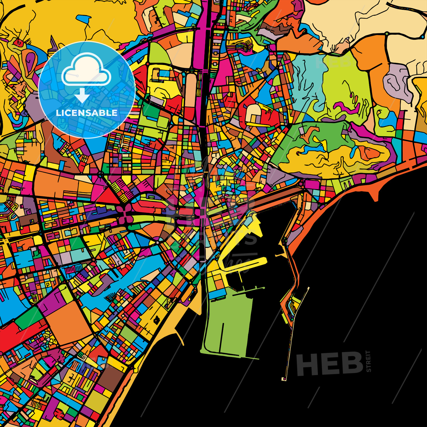 Malaga Colorful Vector Map on Black - HEBSTREIT's Sketches