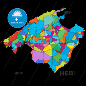 Mallorca Colorful Vector Map on Black - Hebstreits