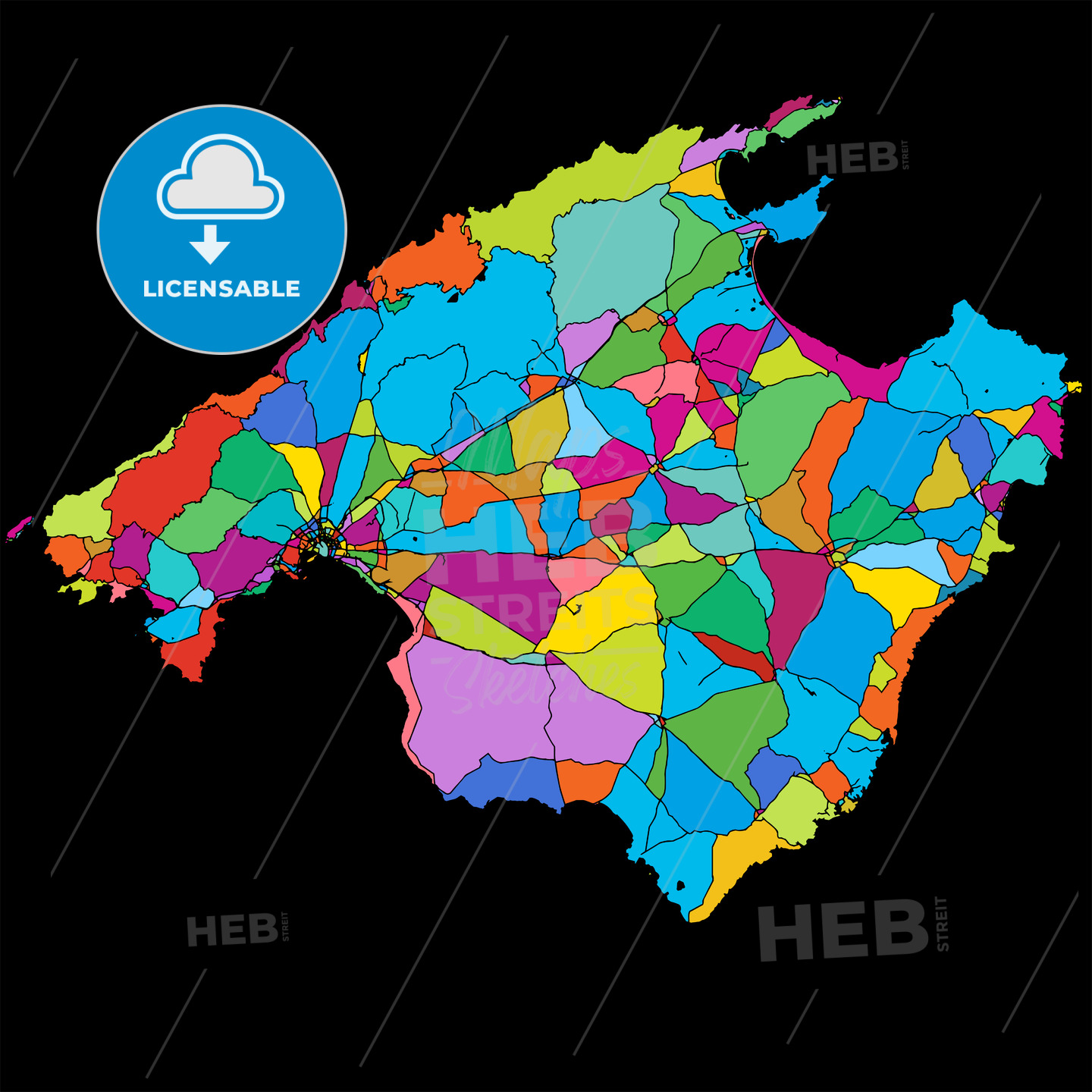 Mallorca Colorful Vector Map on Black - HEBSTREIT's Sketches