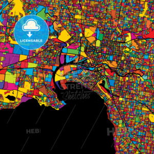 Melbourne Colorful Vector Map on Black - Hebstreits