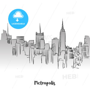 Metropolis Outline Silhouette Card Design - Hebstreits