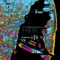 Miami and Miami Beach Colorful Vector Map on Black - Hebstreits
