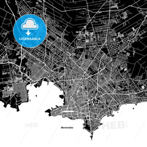 Montevideo One Color Map - HEBSTREIT's Sketches