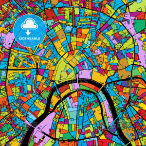 Moscow, Capital of Russia, Colorful Vector Map on Black - HEBSTREIT's Sketches