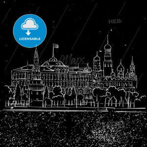 Moscow by Night Kremlin and Stars Sketch - Hebstreits