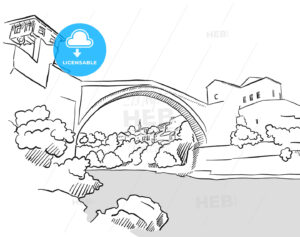 Mostar Bridge Bosnia Herzegovina Greeting Card Sketch - Hebstreits