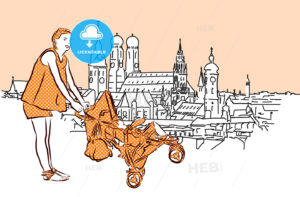 Mother with Buggy in Munich, Vector Hand Drawn Sketch. - Hebstreits