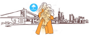 Mother with Child in Front of New York Panorama - Hebstreits