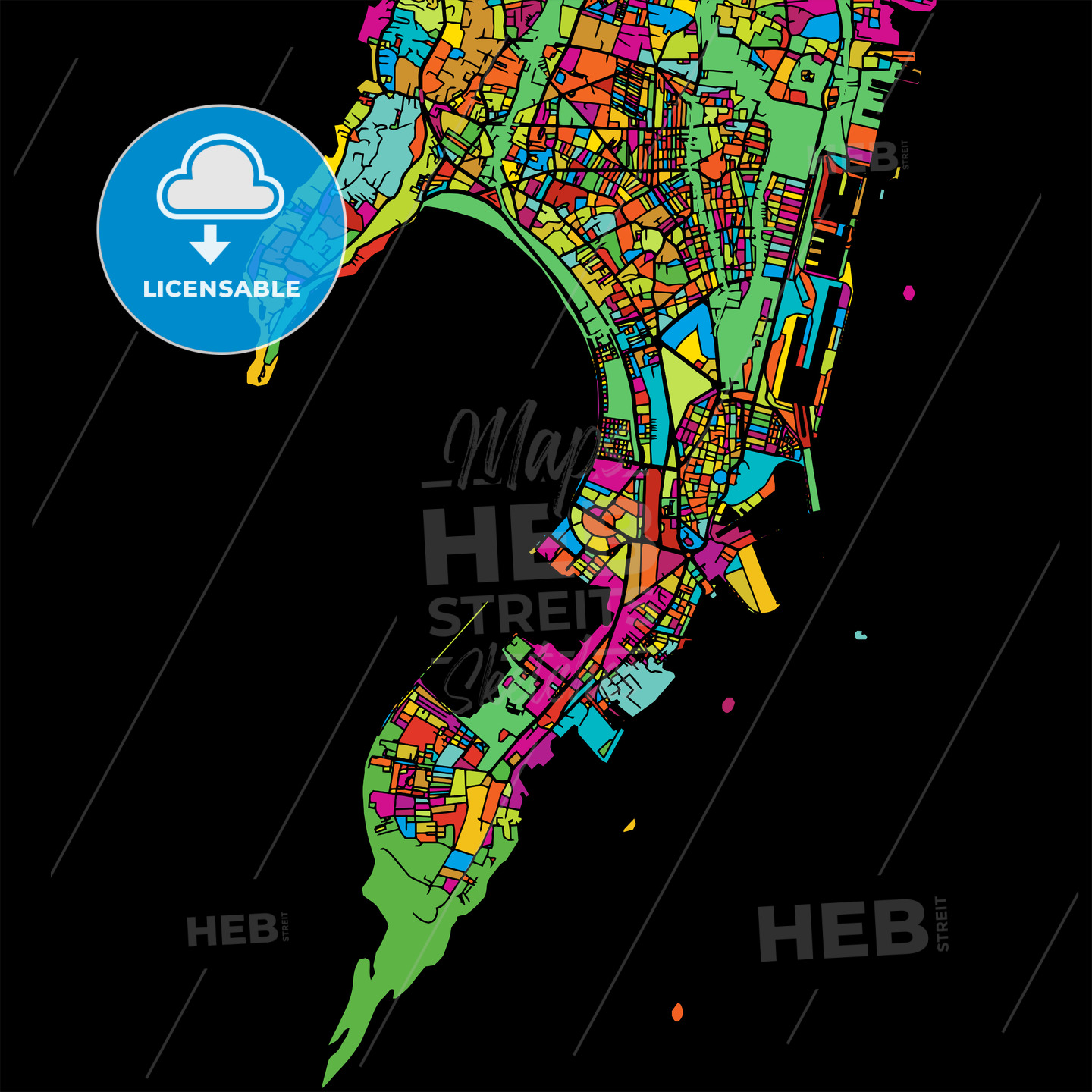 Mumbai, India, Colorful Vector Map on Black - HEBSTREIT's Sketches