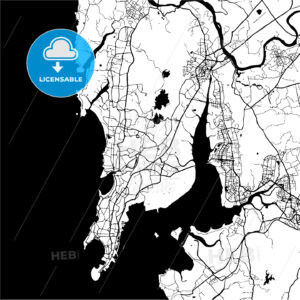 Mumbai, India, Monochrome Map Artprint - HEBSTREIT's Sketches