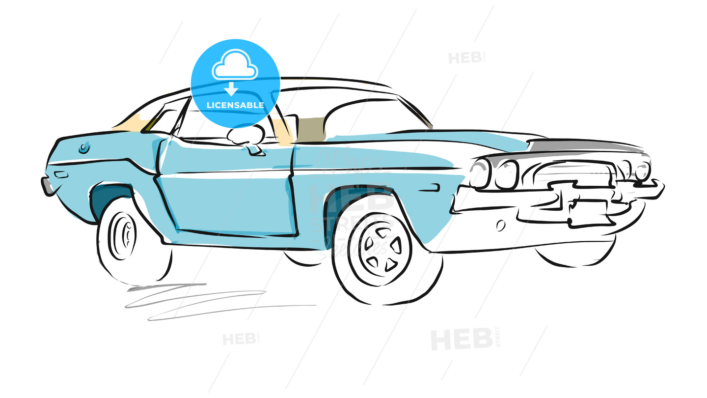 muscle car sketch, vector drawing | hebstreits