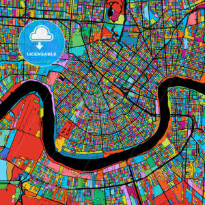 New Orleans Colorful Vector Map on Black - Hebstreits