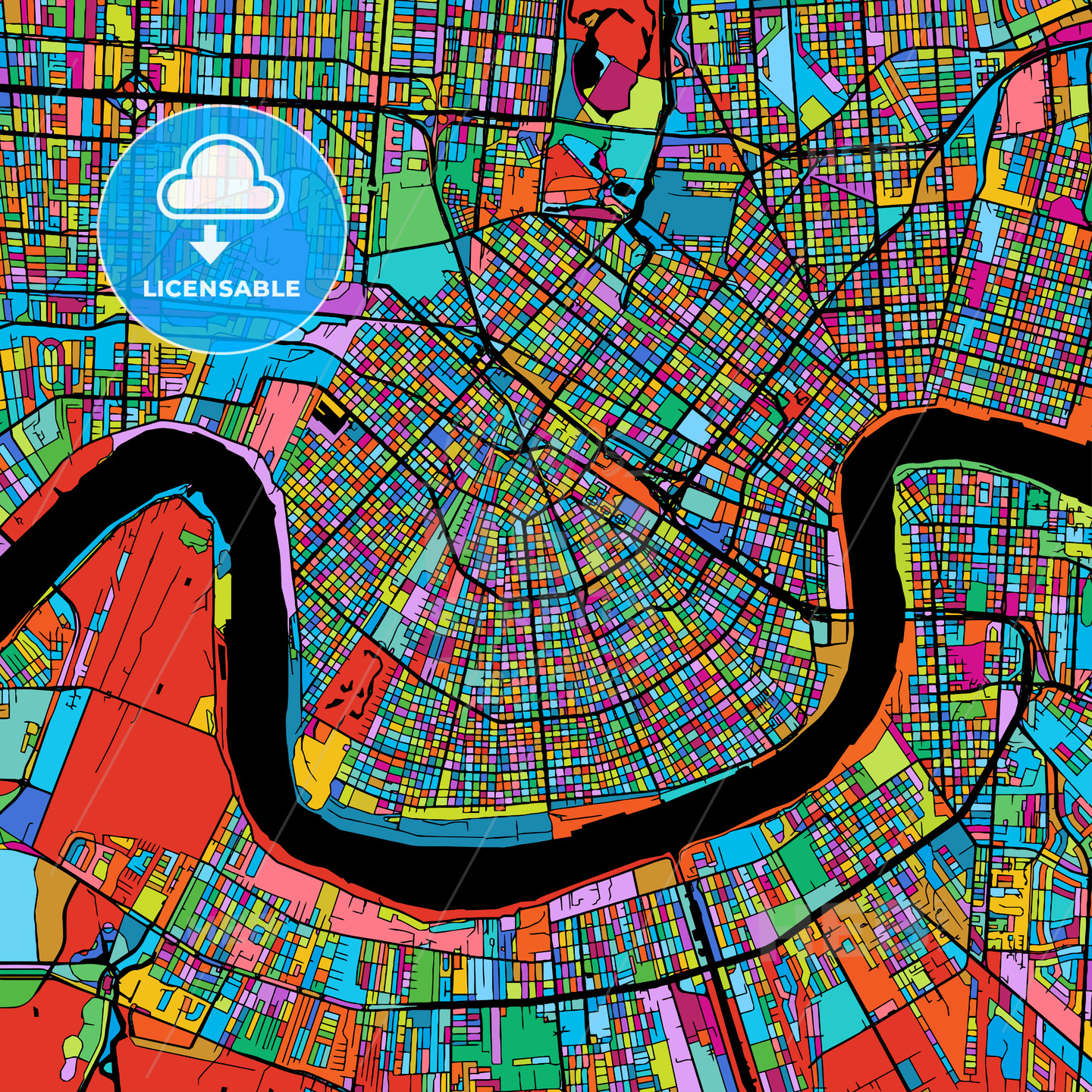 New Orleans Colorful Vector Map on Black - HEBSTREIT's Sketches